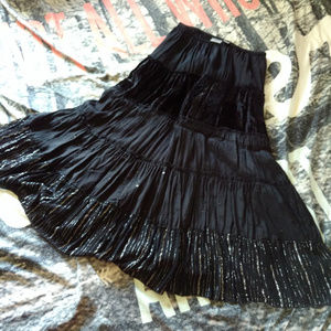 Chico's 1 Black Folk Joni Boho Skirt